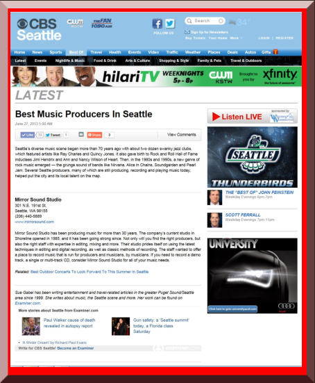 CBS Best Music Producers in Seattle Article 2013 - Mirror Sound Studio